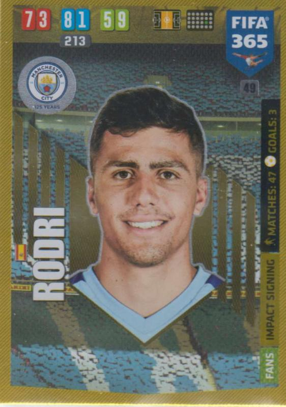 Adrenalyn XL FIFA 365 2020 - 049 Rodri  - Manchester City - Impact Signing