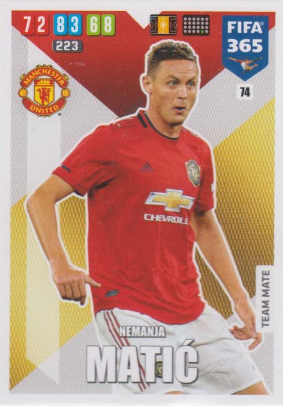 Adrenalyn XL FIFA 365 2020 - 074 Nemanja Matić  - Manchester United - Team Mate