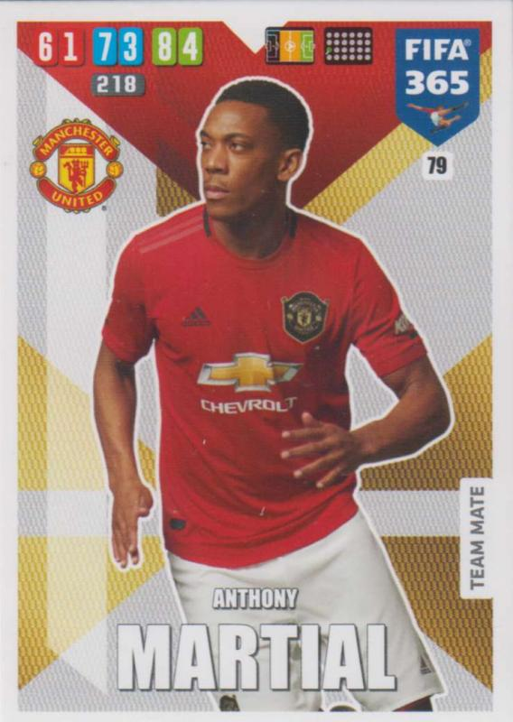 Adrenalyn XL FIFA 365 2020 - 079 Anthony Martial  - Manchester United - Team Mate