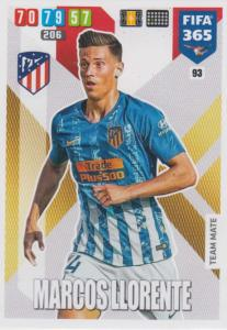 Adrenalyn XL FIFA 365 2020 - 093 Marcos Llorente  - Club Atlético de Madrid - Team Mate
