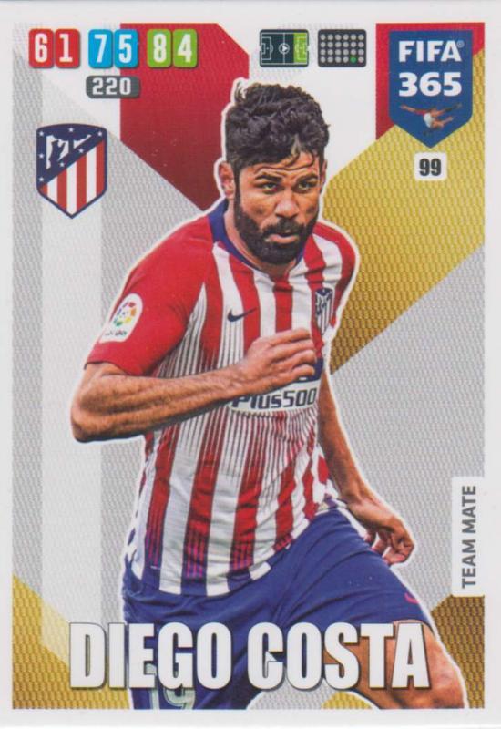 Adrenalyn XL FIFA 365 2020 - 099 Diego Costa  - Club Atlético de Madrid - Team Mate