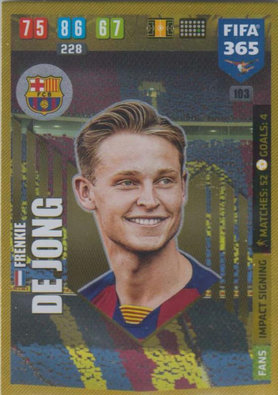 Adrenalyn XL FIFA 365 2020 - 103 Frenkie de Jong  - FC Barcelona - Impact Signing