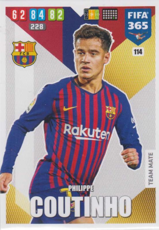 Adrenalyn XL FIFA 365 2020 - 114 Philippe Coutinho  - FC Barcelona - Team Mate