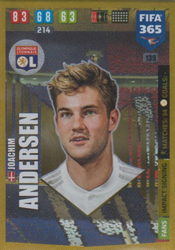 Adrenalyn XL FIFA 365 2020 - 139 Joachim Andersen  - Olympique Lyonnais - Impact Signing