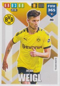 Adrenalyn XL FIFA 365 2020 - 203 Julian Weigl  - Borussia Dortmund - Team Mate