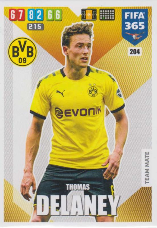 Adrenalyn XL FIFA 365 2020 - 204 Thomas Delaney  - Borussia Dortmund - Team Mate