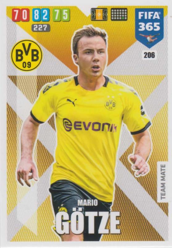 Adrenalyn XL FIFA 365 2020 - 206 Mario Götze  - Borussia Dortmund - Team Mate
