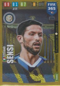 Adrenalyn XL FIFA 365 2020 - 229 Stefano Sensi  - FC Internazionale Milano - Impact Signing