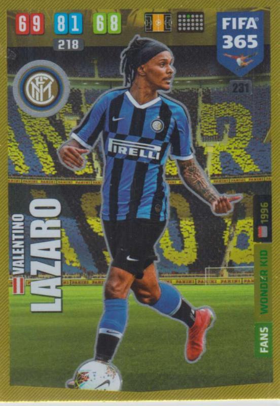 Adrenalyn XL FIFA 365 2020 - 231 Valentino Lazaro  - FC Internazionale Milano - Wonder Kid