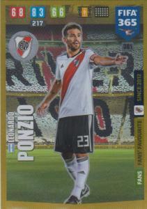 Adrenalyn XL FIFA 365 2020 - 301 Leonrado Ponzio  - CA River Plate - Fans' Favourite