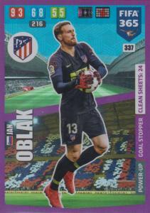 Adrenalyn XL FIFA 365 2020 - 337 Jan Oblak  - Club Atlético de Madrid - Goal Stopper