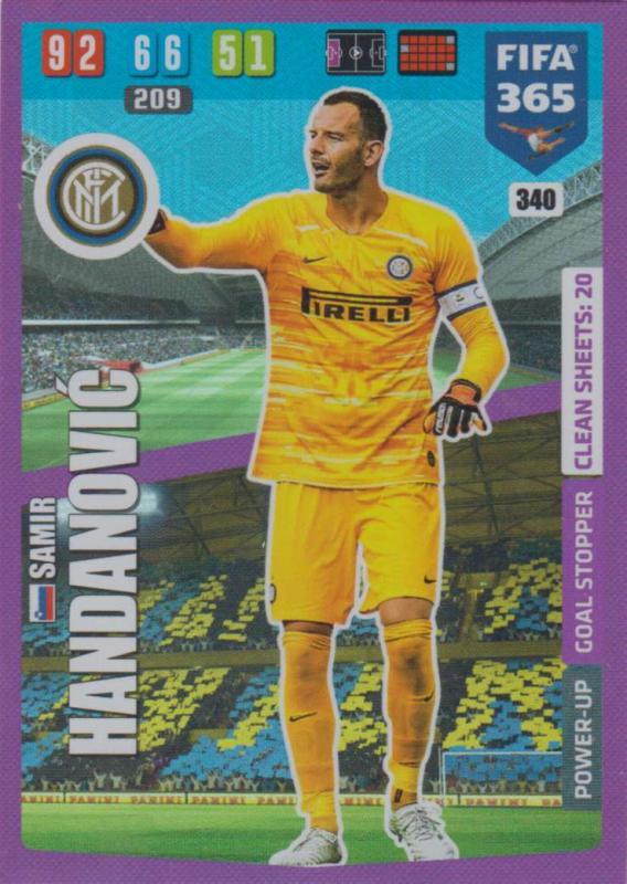 Adrenalyn XL FIFA 365 2020 - 340 Samir Handanovic  - FC Internazionale Milano - Goal Stopper