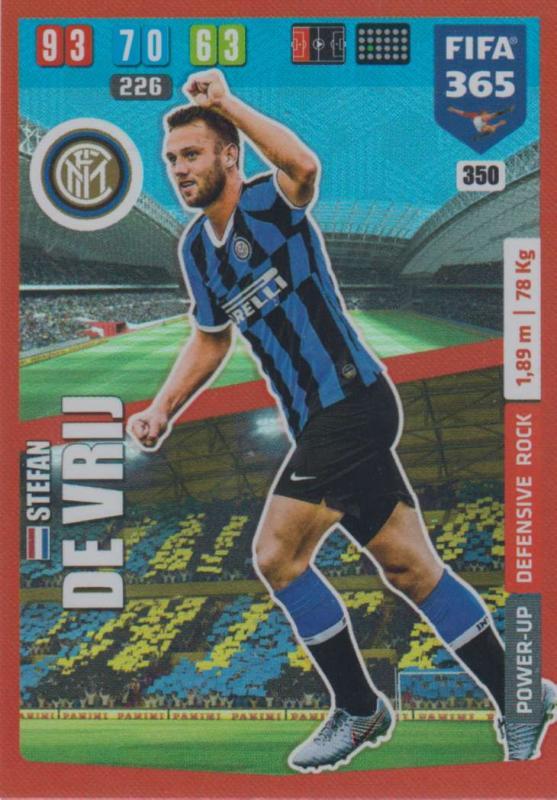 Adrenalyn XL FIFA 365 2020 - 350 Srefan de Vrij  - FC Internazionale Milano - Defensive Rock