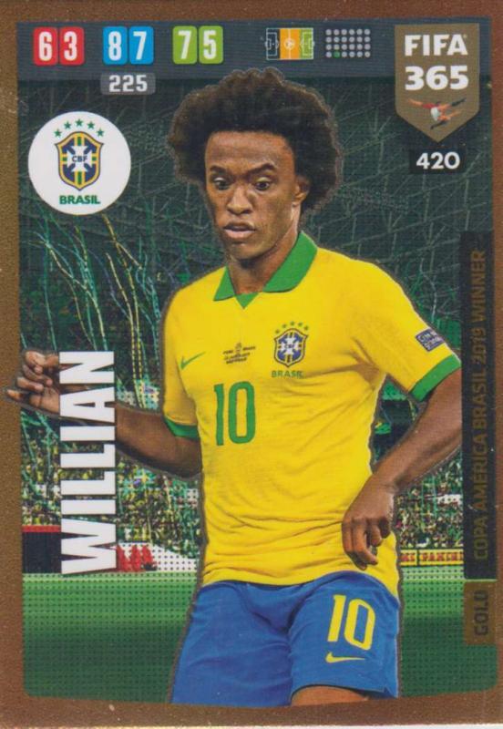 Adrenalyn XL FIFA 365 2020 - 420 Willian  - Brazil - Copa America Brasil 2019 Winner