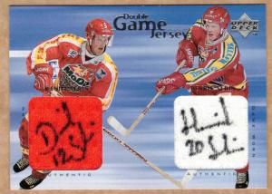 Daniel Sedin / Henrik Sedin 1998-99 Swedish UD Choice #GJA1 Dual Jersey Autograph