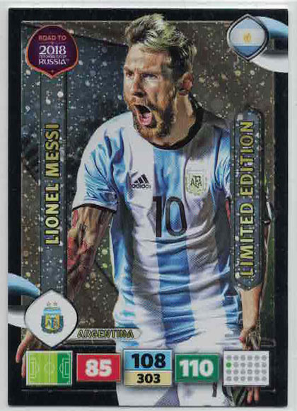 XXL Lionel Messi - Argentina, Limited Edition, Panini Road To World Cup Russia 2018 (Stort kort)