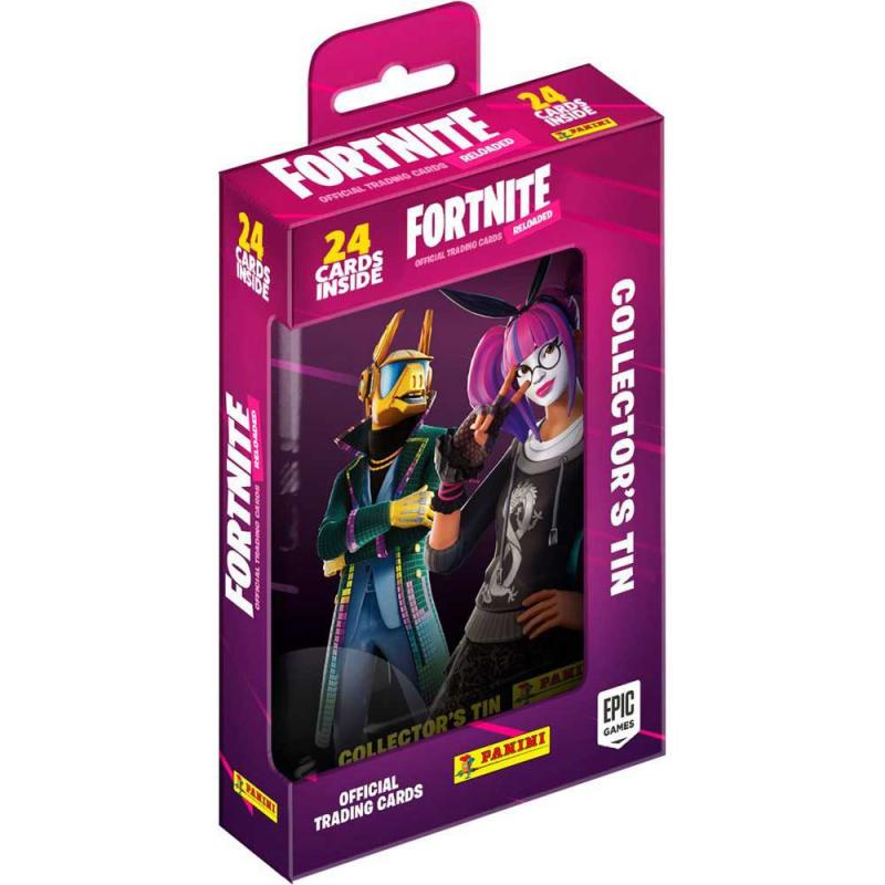 1 Pocket Tin (24 kort totalt) 2020 Panini Fortnite Trading Cards Reloaded (Serie 2)