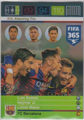 Attacking Trio, 2015-16 Adrenalyn FIFA 365 #310 Luis Suarez / Neymar Jr. / Lionel Messi