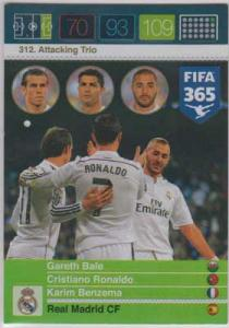 Attacking Trio, 2015-16 Adrenalyn FIFA 365 #312 Gareth Bale / Cristiano Ronaldo / Karim Benzema