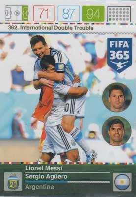 International Double Trouble, 2015-16 Adrenalyn FIFA 365 #362 Lionel Messi / Sergio Aguero