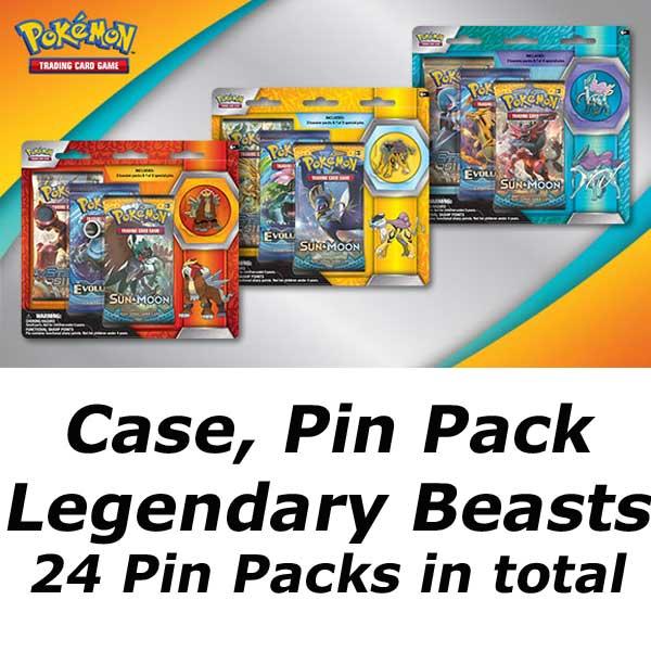 Case, Pin Pack Legendary Beasts (24 Pin Packs Totalt) [Evolutions, Sun & Moon och Steam Siege]