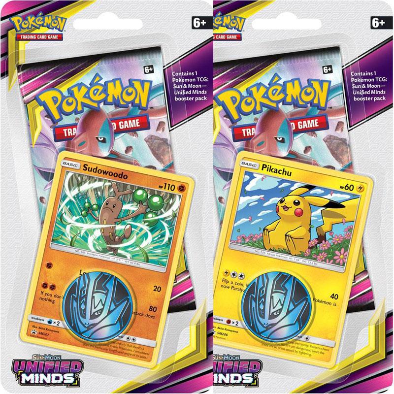Pokémon, SM Unified Minds, Checklane Blister Pack x 2 (Sudowoodo + Pikachu)