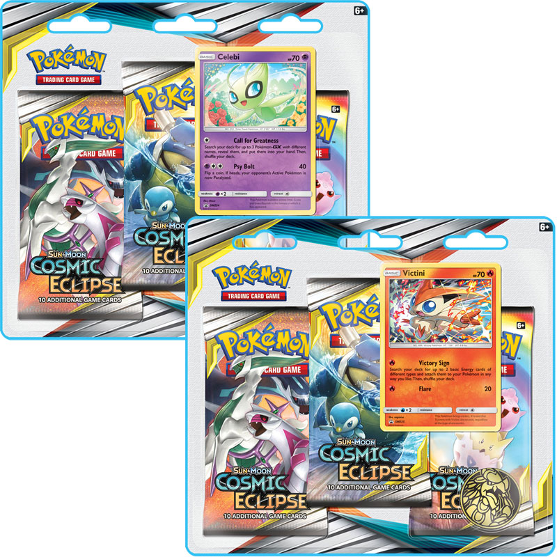 Pokémon, SM Cosmic Eclipse, Trippelblister x 2 (Celebi + Victini)