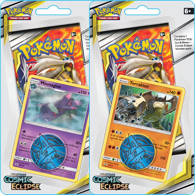 Pokémon, SM Cosmic Eclipse, Checklane Blister Pack x 2 (Mismagius + Terrakion)