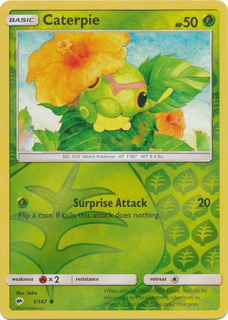 SM Burning Shadows, Caterpie - 1/147 - Common - Reverse Holo