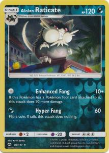 SM Burning Shadows, Alolan Raticate - 82/147 - Rare - Reverse Holo
