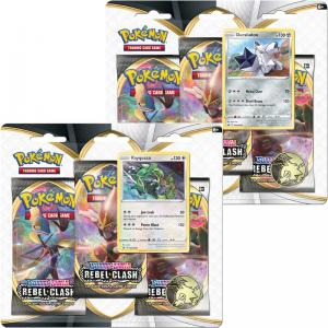 Pokémon, Sword & Shield 2: Rebel Clash, Three Pack Blister Pack x 2 (Duraludon & Rayquaza)