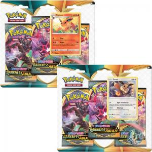 Pokémon, Sword & Shield 3: Darkness Ablaze, Three Pack Blister x 2 (Eevee + Flareon)