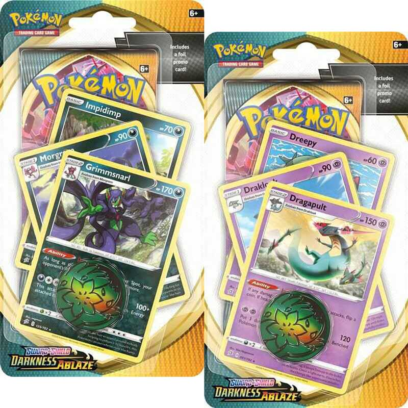 Pokémon, Sword & Shield 3: Darkness Ablaze, PREMIUM Checklane Blister Pack x 2 (Grimmsnarl + Dragapult)