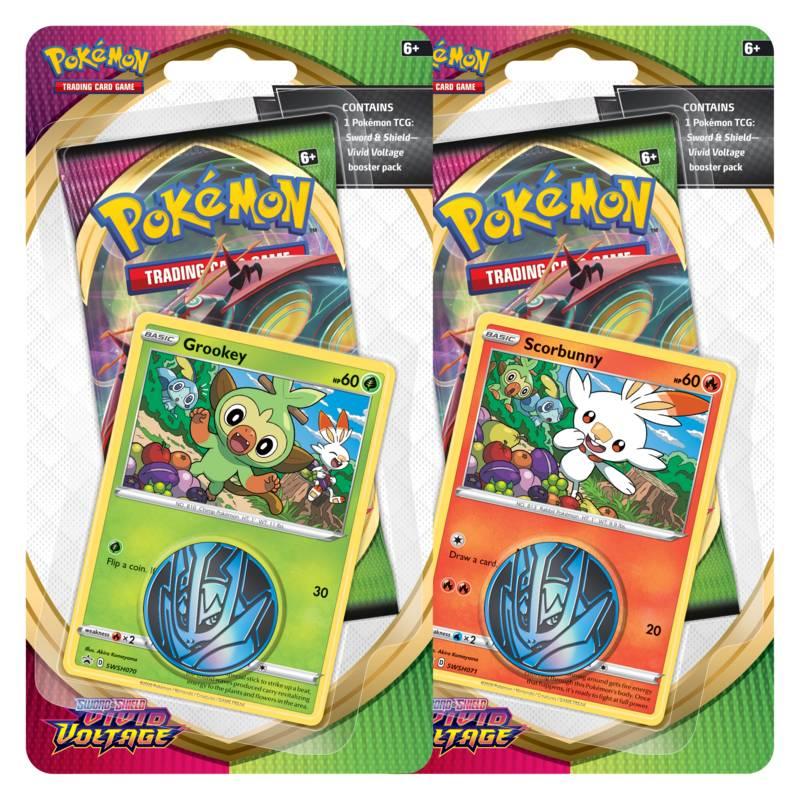 Pokémon, Sword & Shield 4: Vivid Voltage, Checklane Blister Pack x 2 (Grookey + Scorbunny)