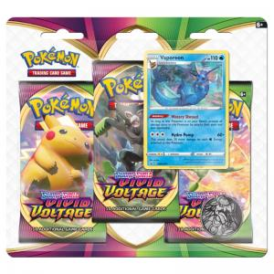 PRE-BUY: Pokémon, Sword & Shield 4: Vivid Voltage, Three Pack Blister: Vaporeon (Preliminary release November 13:th 2020)