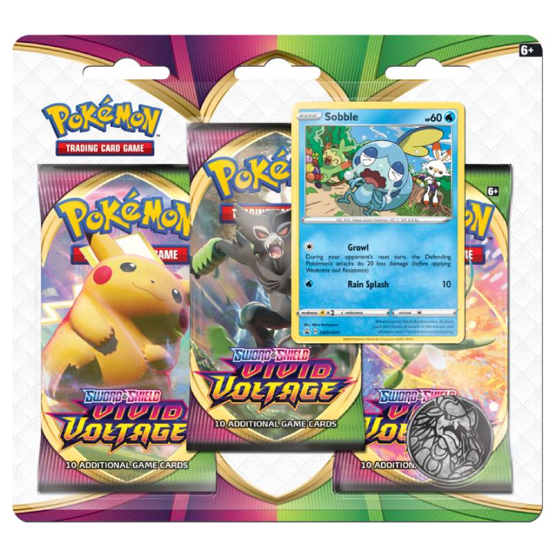Pokémon, Sword & Shield 4: Vivid Voltage, Three Pack Blister: Sobble