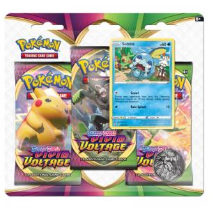 PRE-BUY: Pokémon, Sword & Shield 4: Vivid Voltage, Three Pack Blister: Sobble (Preliminary release November 13:th 2020)