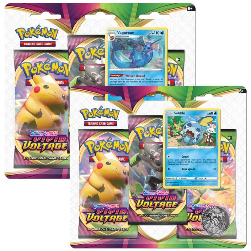 Pokémon, Sword & Shield 4: Vivid Voltage, Three Pack Blister x 2 (Vaporeon + Sobble)