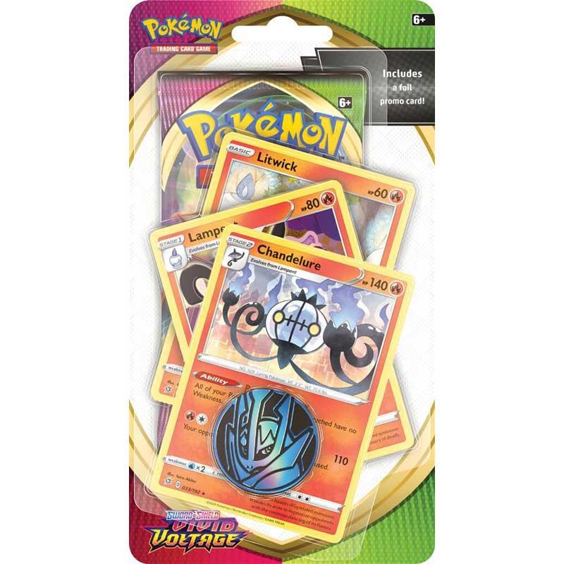 Pokémon, Sword & Shield 4: Vivid Voltage, PREMIUM Checklane Blister Pack: Chandelure