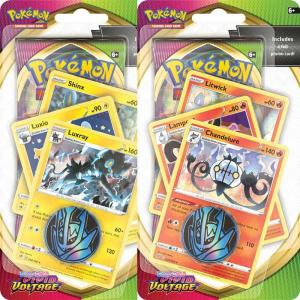 PRE-BUY: Pokémon, Sword & Shield 4: Vivid Voltage, PREMIUM Checklane Blister Pack x 2 (Chandelure + Luxray) (Preliminary release November 13:th 2020)