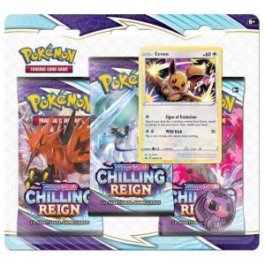 FÖRKÖP: Pokémon, Sword & Shield 6: Chilling Reign, Three Pack Blister: Eevee (Preliminär release 18:e juni 2021)
