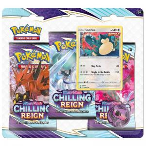 FÖRKÖP: Pokémon, Sword & Shield 6: Chilling Reign, Three Pack Blister: Snorlax (Preliminär release 18:e juni 2021)