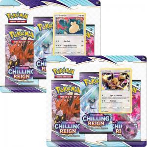 FÖRKÖP: Pokémon, Sword & Shield 6: Chilling Reign, Three Pack Blister x 2 (Eevee + Snorlax) (Preliminär release 18:e juni 2021)