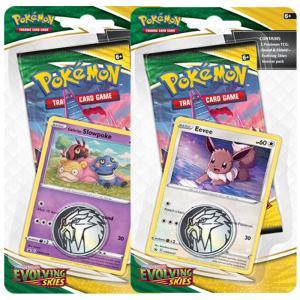 Pokémon, Sword & Shield 7: Evolving Skies, Checklane Blister Pack x 2 (Galarian Slowpoke + Eevee)