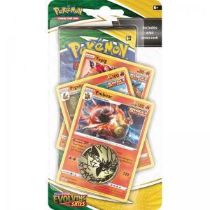 Pokémon, Sword & Shield 7: Evolving Skies, PREMIUM Checklane Blister Pack: Emboar