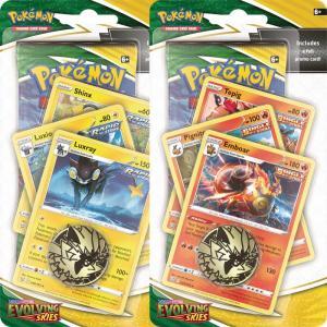Pokémon, Sword & Shield 7: Evolving Skies,PREMIUM Checklane Blister Pack x 2 (Luxray + Emboar)