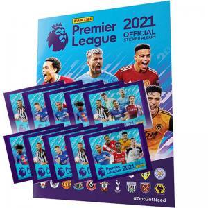 Album + 10 Paket, Panini Football Premier League 2021 Stickers (Klisterbilder)
