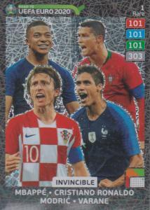 Adrenalyn XL Road to UEFA EURO 2020 #001 Mbappé, Ronaldo, Modrić, Varane - Invincible