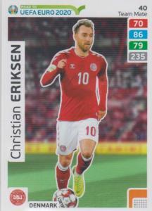 Adrenalyn XL Road to UEFA EURO 2020 #040 Christian Eriksen (Denmark) - Team Mate