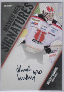 2014-15 SHL s.1 Masked Men Signatures #5 Henrik Lundberg Örebro Hockey